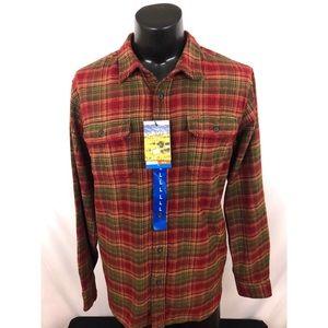 Orvis Big Bear Flannel Plaid Button Up Shirt L